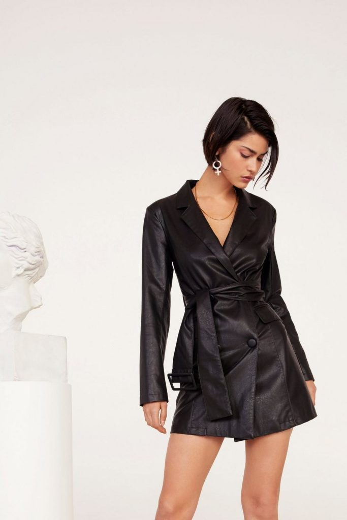 Bar Business Faux Leather Blazer Dress $80.00