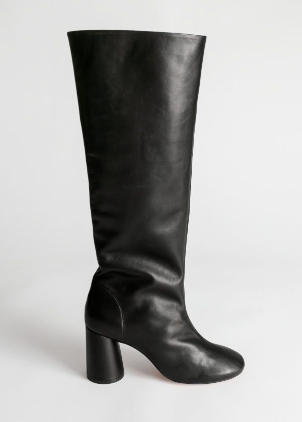 Gathered Slouch Leather Boots $279