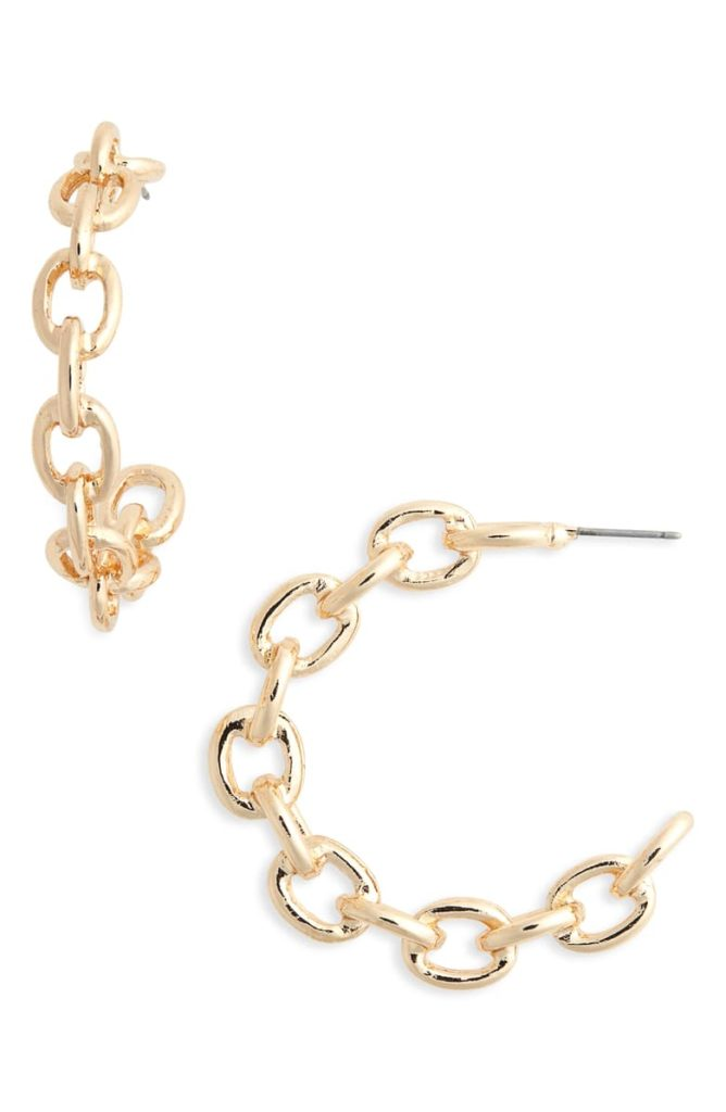 Chain Link Hoop Earrings $29.00