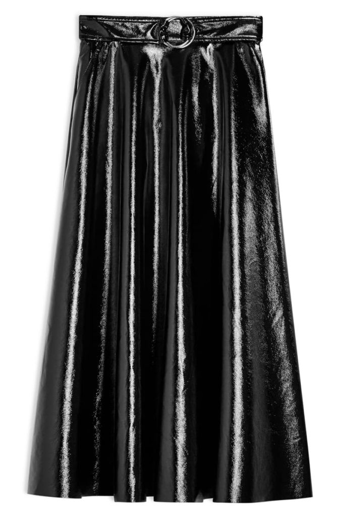 Full Circle Vinyl Midi Skirt $95.00