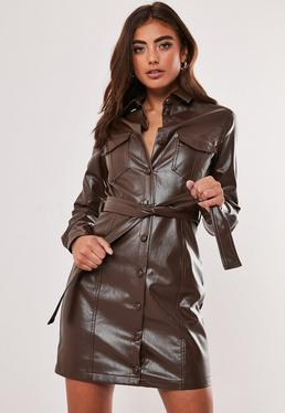 brown faux leather belted shirt dress $68.00