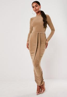 camel high neck long sleeve ruched midaxi dress $42.00