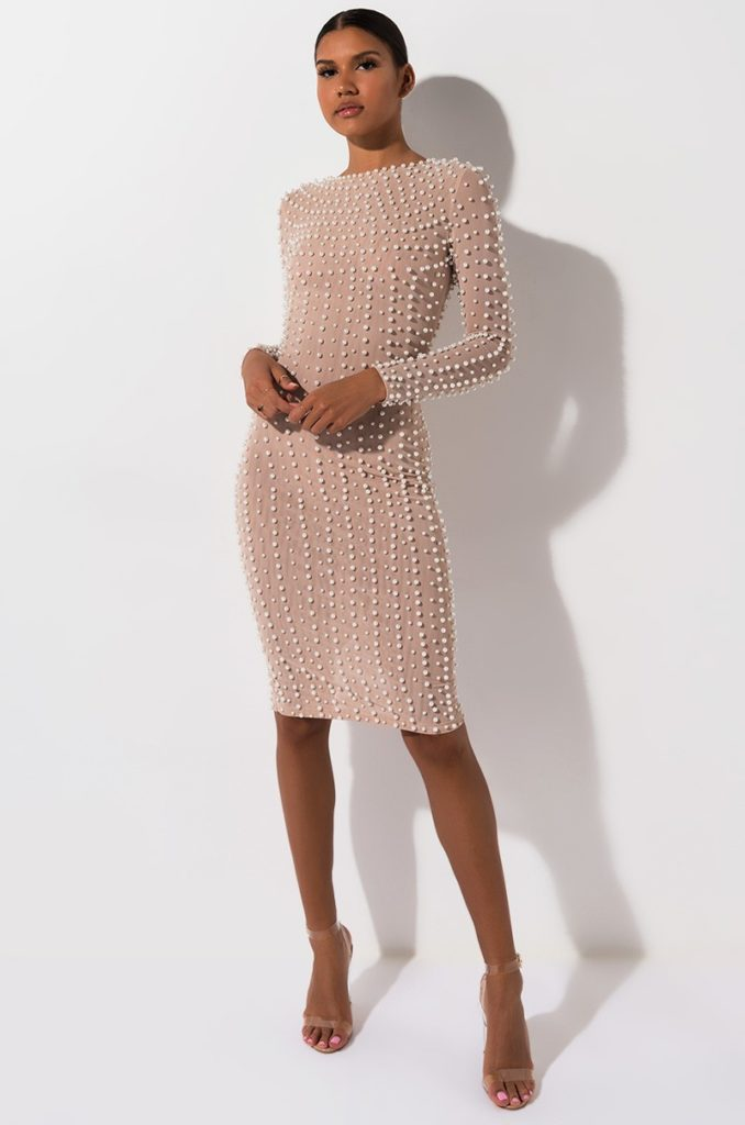 COVERED IN PEARLS MINI DRESS $109.90