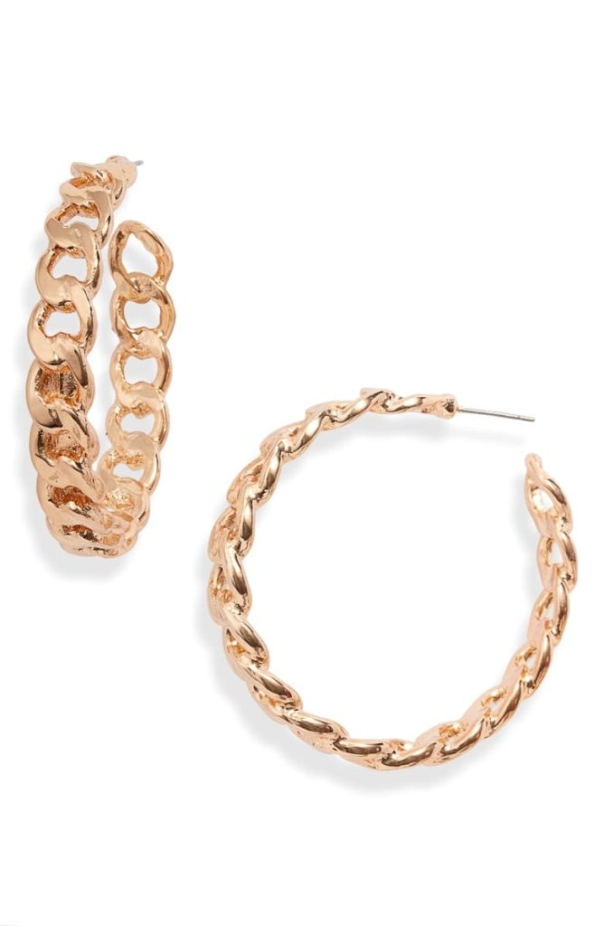 Chain Hoop Earrings $26.00