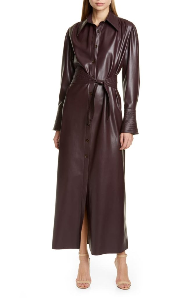 Rosana Long Sleeve Faux Leather Shirtdress NANUSHKA $680.00