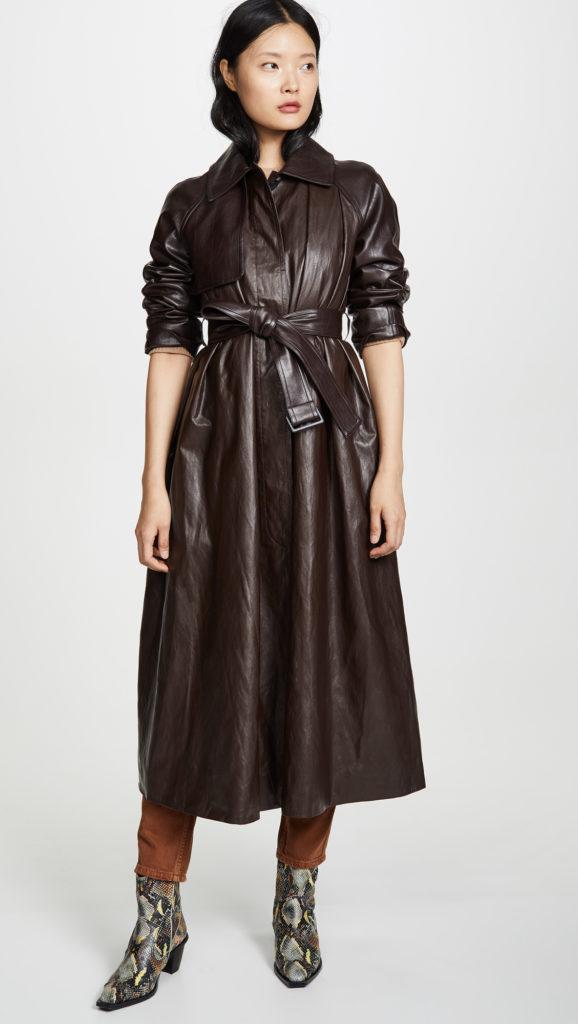 GOEN.J Faux Leather Trench Coat $890.00