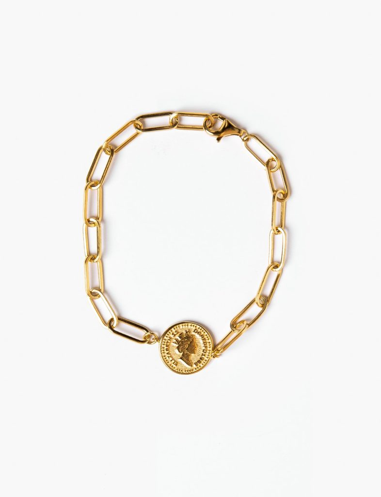 GOLD PLATED CHAIN COIN BRACELET $82.00
