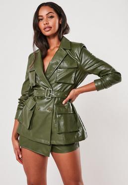 green co ord faux leather utility blazer $85.00