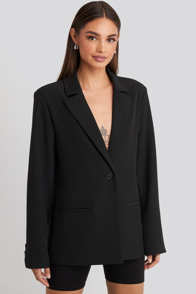 Padded Shoulder Blazer Black $84.95