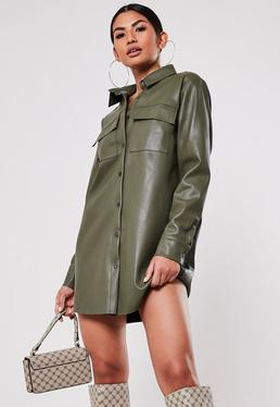 khaki faux leather oversized shirt dress $68.00