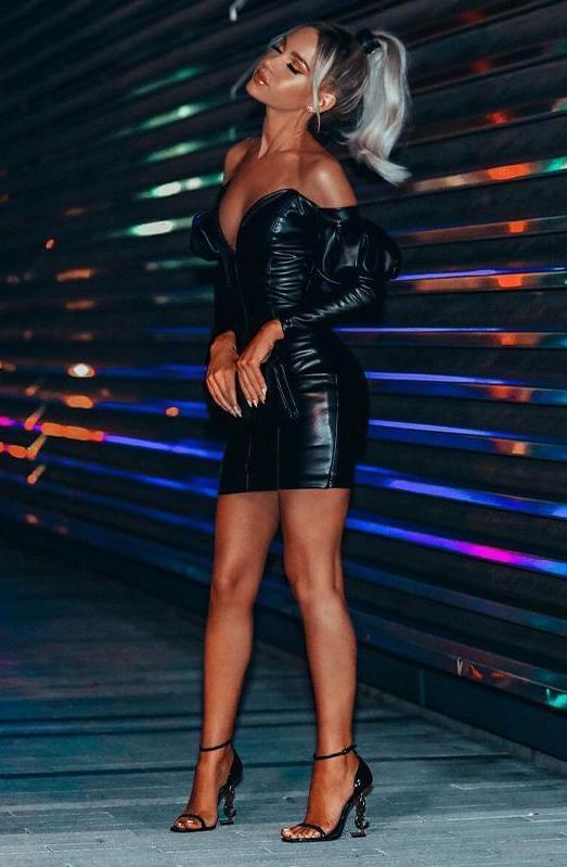 Dom Black Faux Leather Mini Dress $144.50