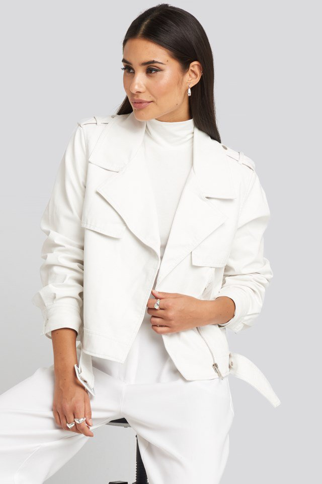 Belted PU Jacket White $71.95