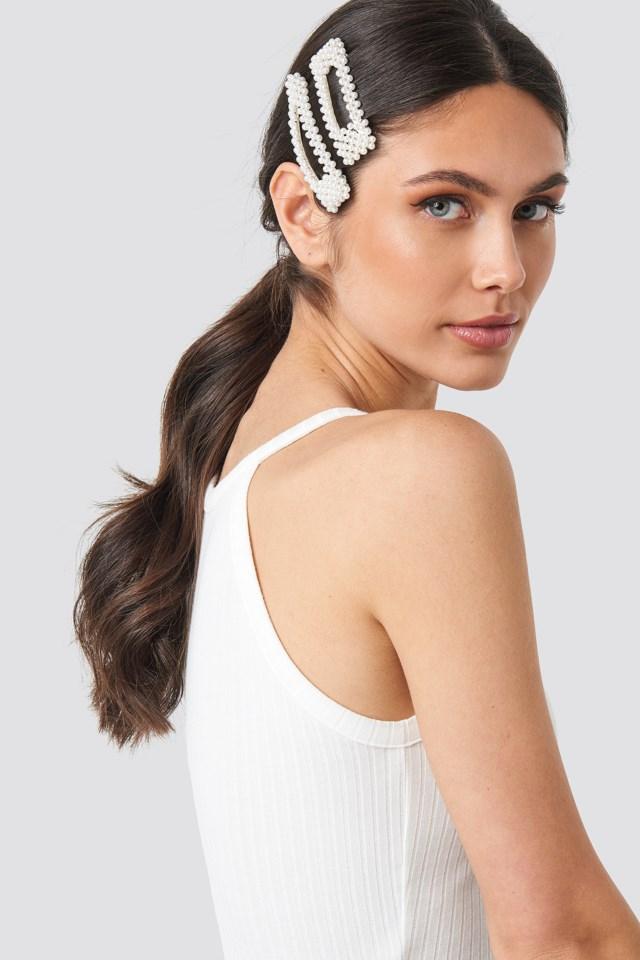 Big Pearl Hairclips White $15.95