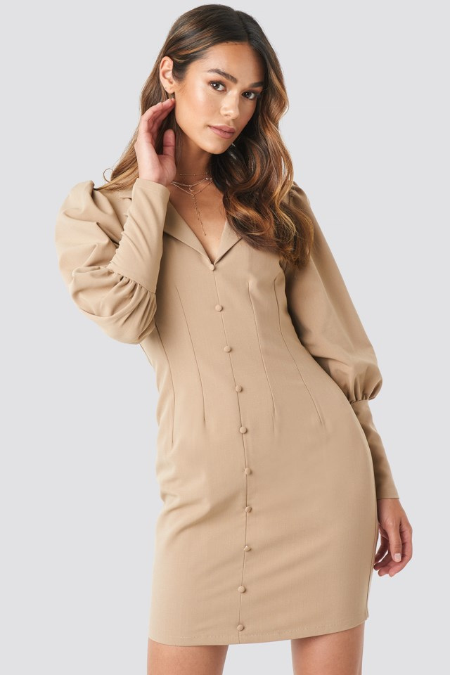 Button Front Mini Dress Beige $59.95