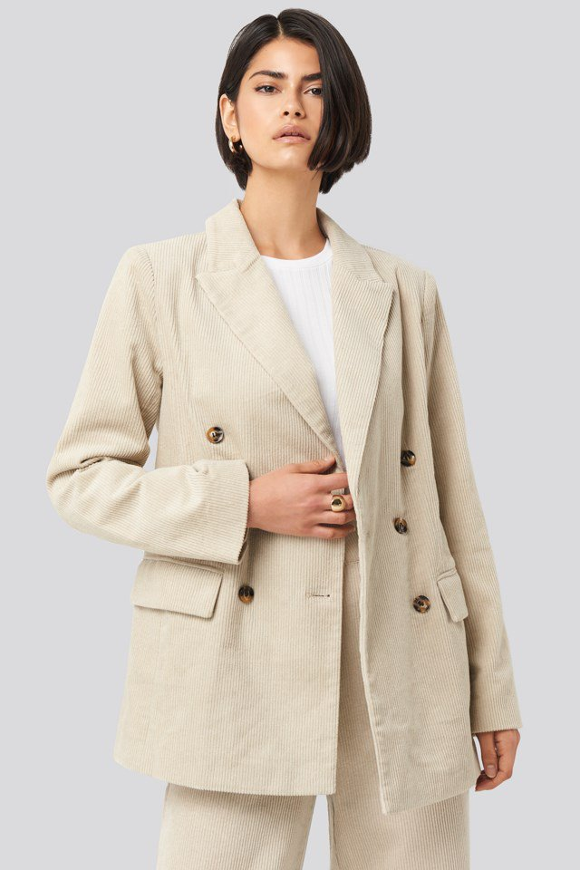 Corduroy Double Breasted Blazer Beige $71.95