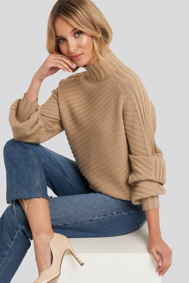 Diagonal Ribbed Knitted Sweater Beige $47.95