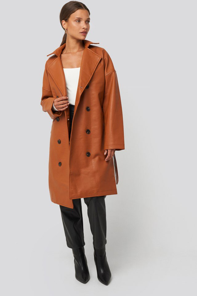 Double Breasted PU Coat Brown $95.95