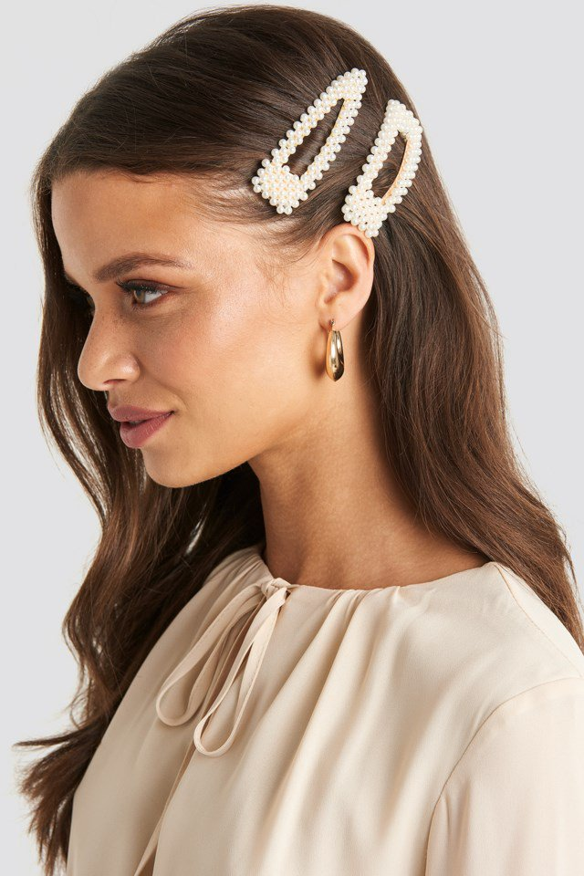 Double Pack Pearl Hairclips White $14.95