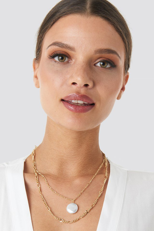 Double Pearl Pendant Necklace Gold $20.95