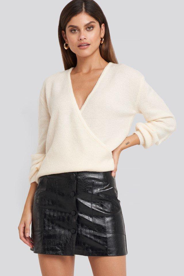 Embossed Croco Pu Mini Skirt Black $35.95