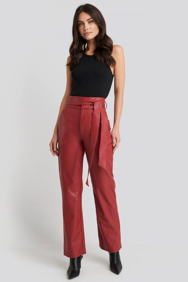 Faux Leather Belted Straight Leg Pants Red $59.95