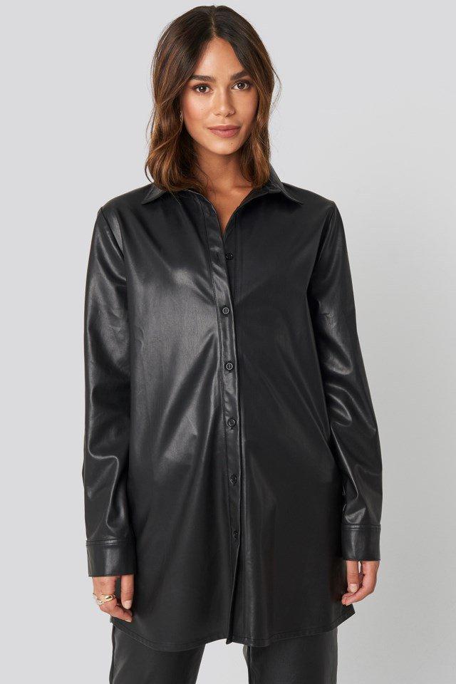 Faux Leather Shirt Black $71.95