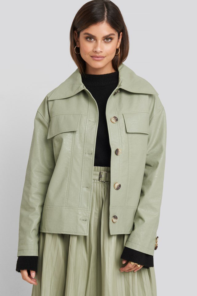 Front Pocket Pu Jacket Green $95.95