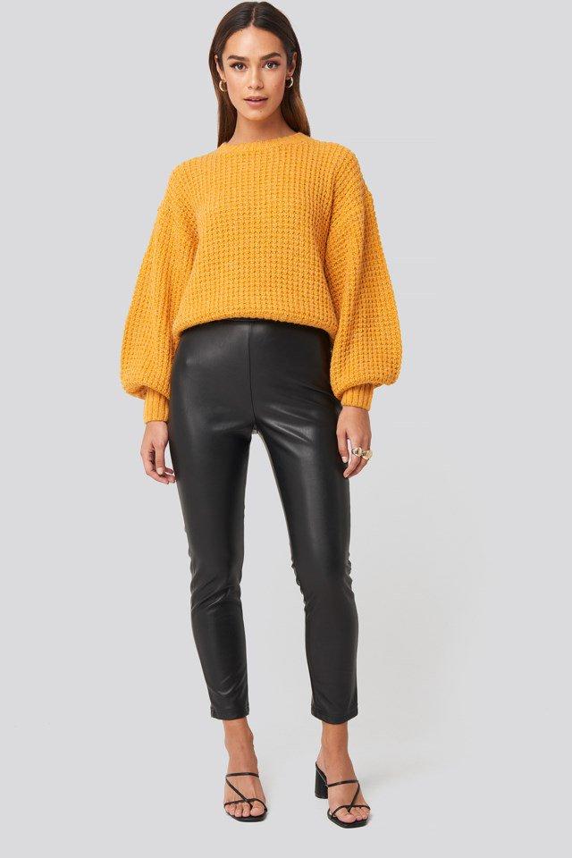 High Waist PU Pants Black $41.95