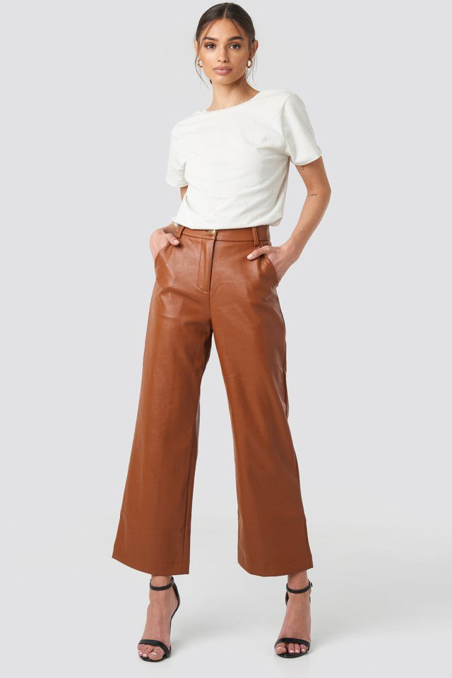 Wide Leg PU Pants Brown $71.95