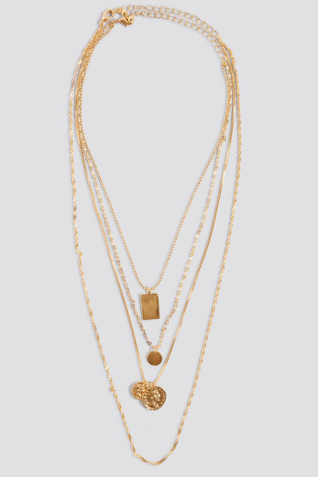 Mixed Pendant Necklace Gold $17.95