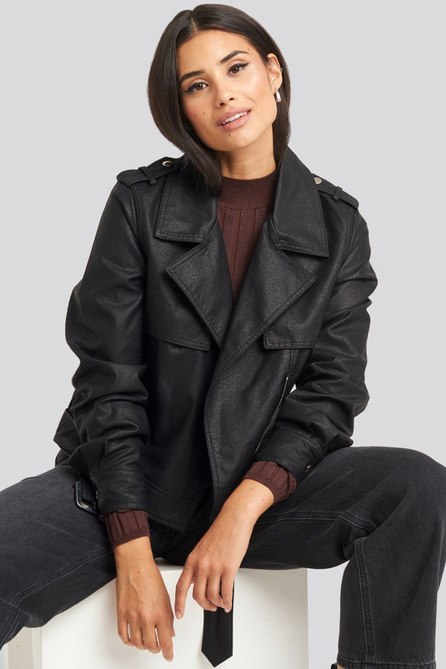 Belted PU Jacket Black $71.95