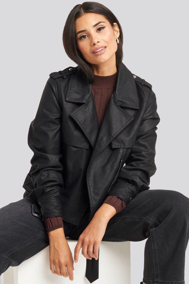 Belted PU Jacket Black $71.95