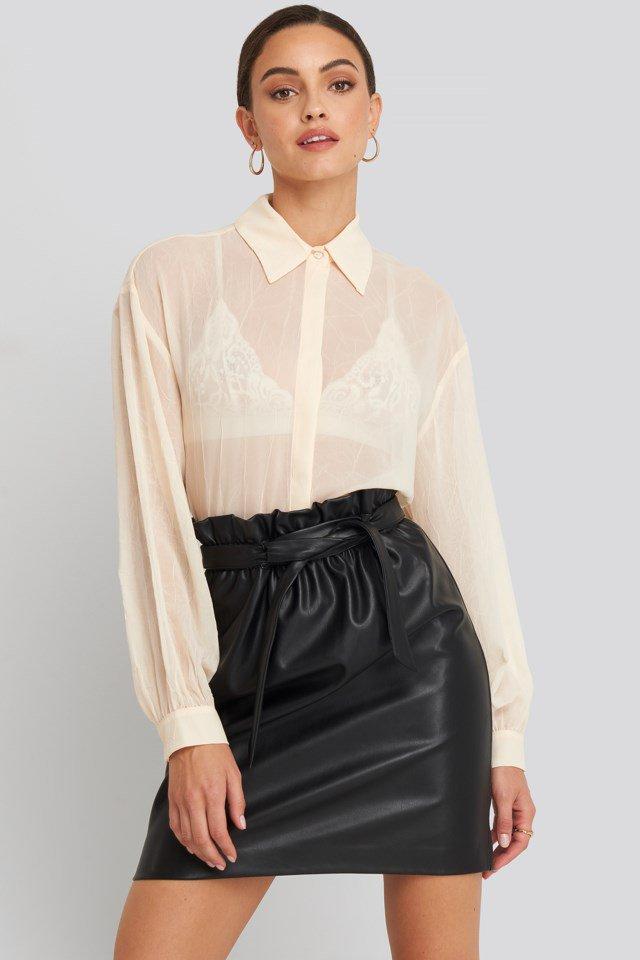 Paper Waist PU Skirt Black $35.95