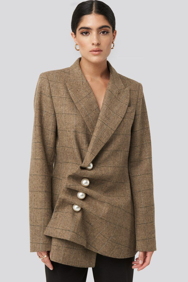 Pearl Embellished Blazer Brown $95.95