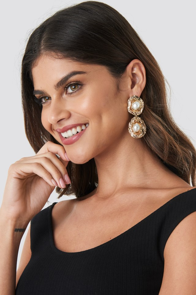 Pearl Textured Drop Earrings Gold $11.16