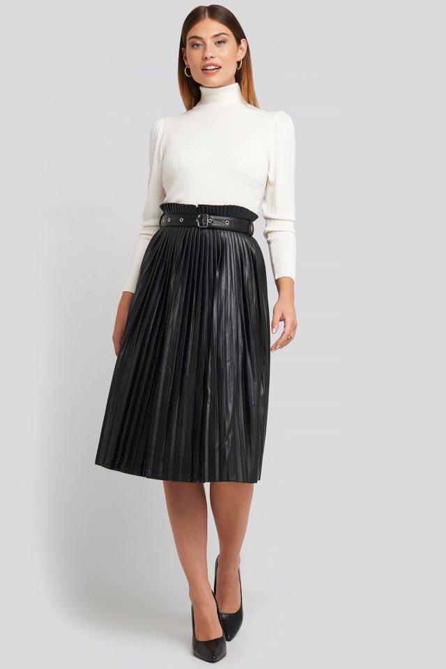 Pleated Pu Belt Skirt Black $71.95