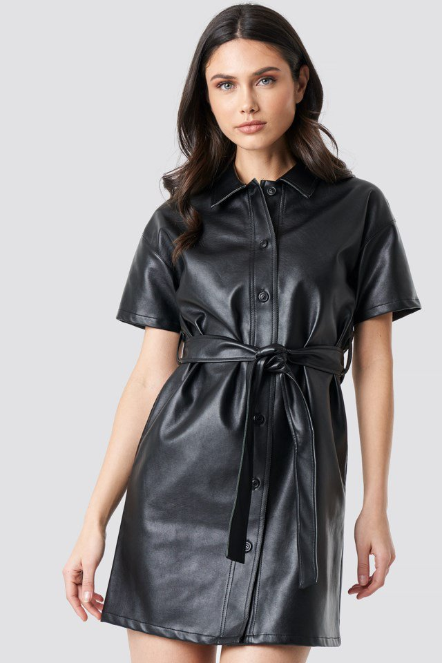 PU Belted Shirt Dress Black $59.95