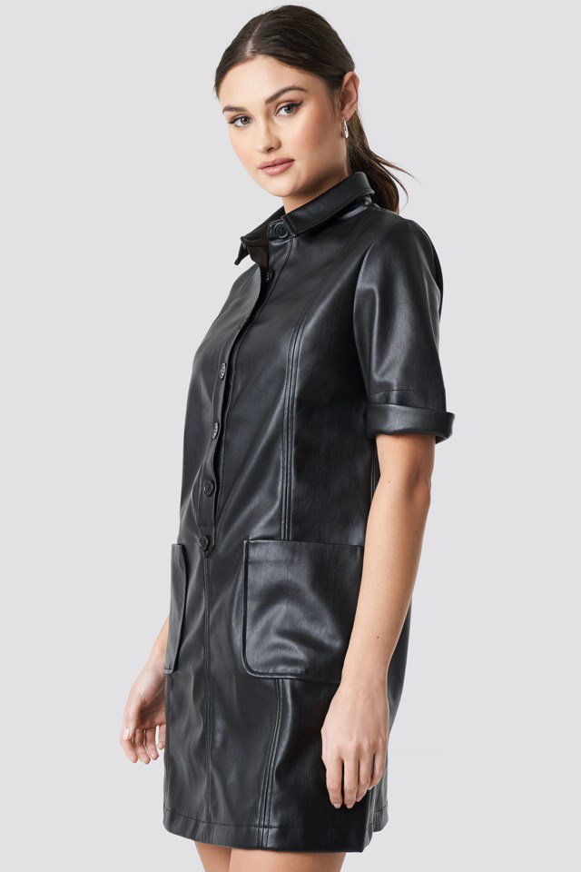 PU Button Up Mini Dress Black $83.95