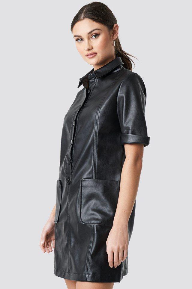 PU Button Up Mini Dress Black $83.95