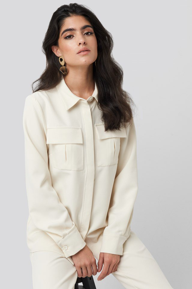 Straight Fitted Overshirt White $59.95