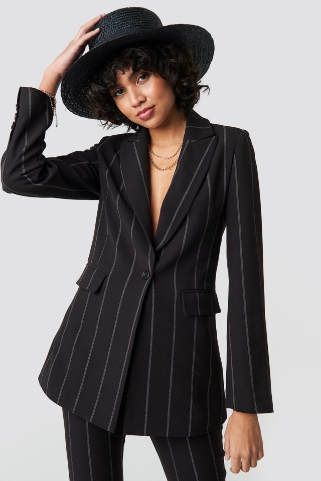 Striped Long Blazer Black $83.95