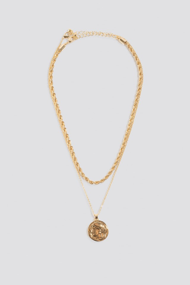 hick Chain Coin Double Necklace Gold $11.95