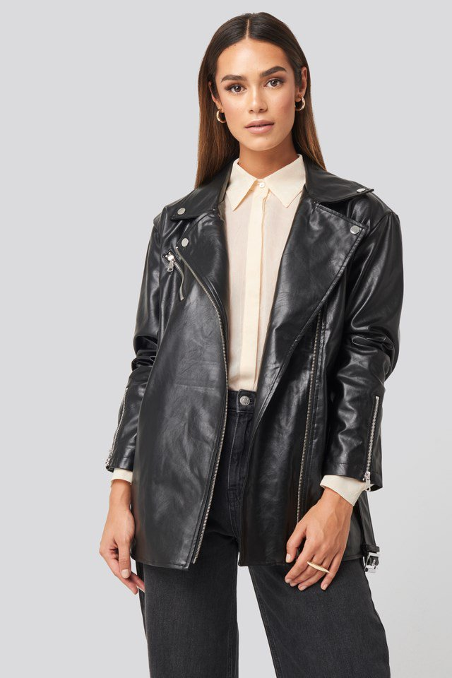 Tied Waist PU Biker Jacket Black $106.95