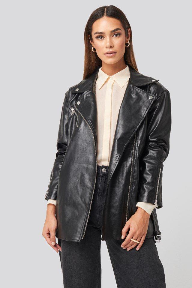 Tied Waist PU Biker Jacket Black $106.95