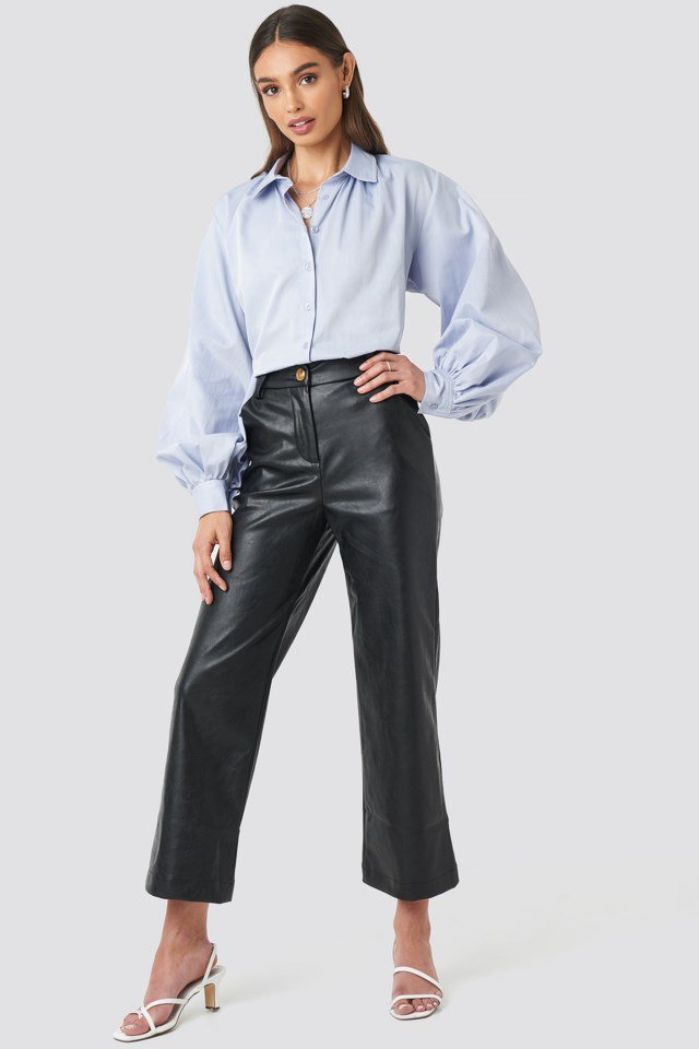 Wide Leg PU Pants Black $71.95