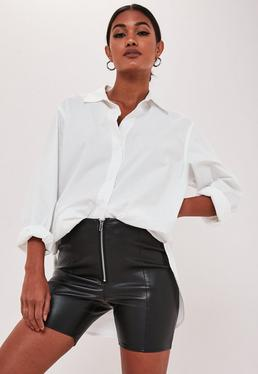 petite black faux leather zip front cycling shorts $34.00
