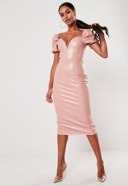 pink faux leather sweetheart neckline puff sleeve dress $54.00