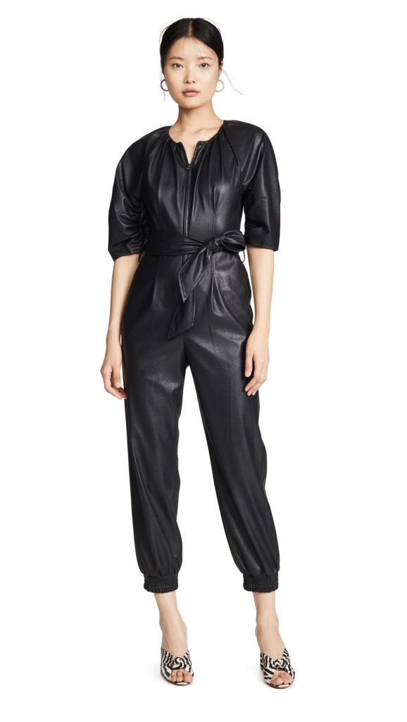 Rebecca Taylor Short Sleeve Vegan Leather Jumpsuit $595.00
