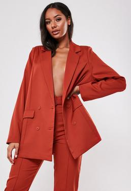 red co ord grandad collar oversized blazer $64.00