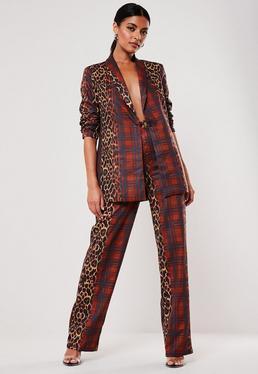 red co ord leopard tartan print cigarette pants $47.00